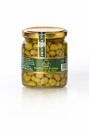 Petites fèves frites dans l'huile d'olive